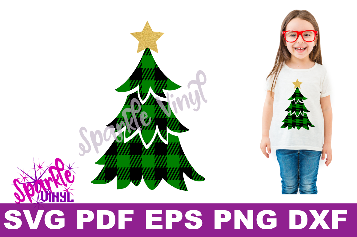 Svg Buffalo Plaid Christmas Tree with Star Shirt Sign Stencil printable svg files for cricut and silhouette png pdf dxf eps Christmas design example image 2