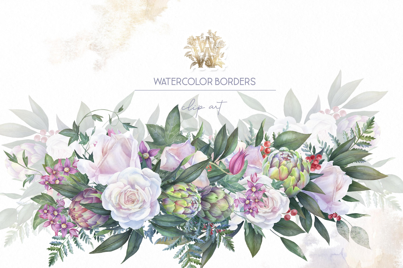 White rose wedding frame clip art example image 8
