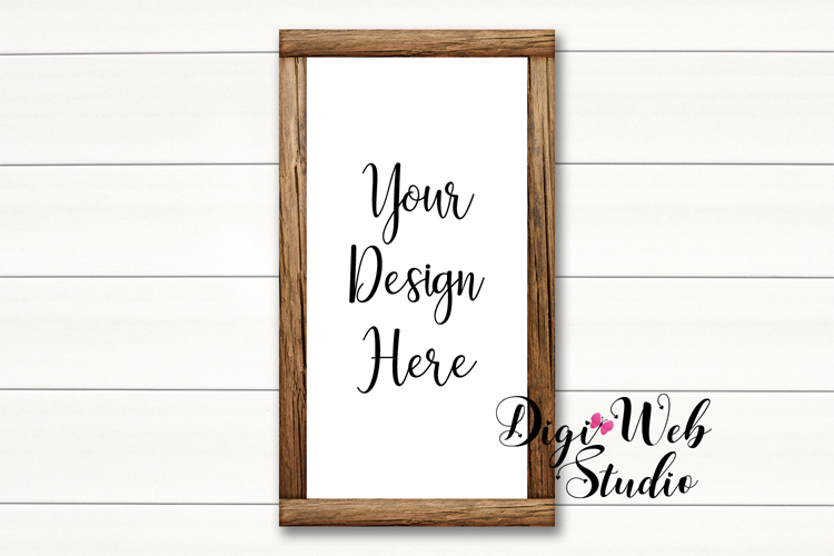 Wood Signs Mockup Bundle - 10 Wood Frames on White Shiplap example image 8