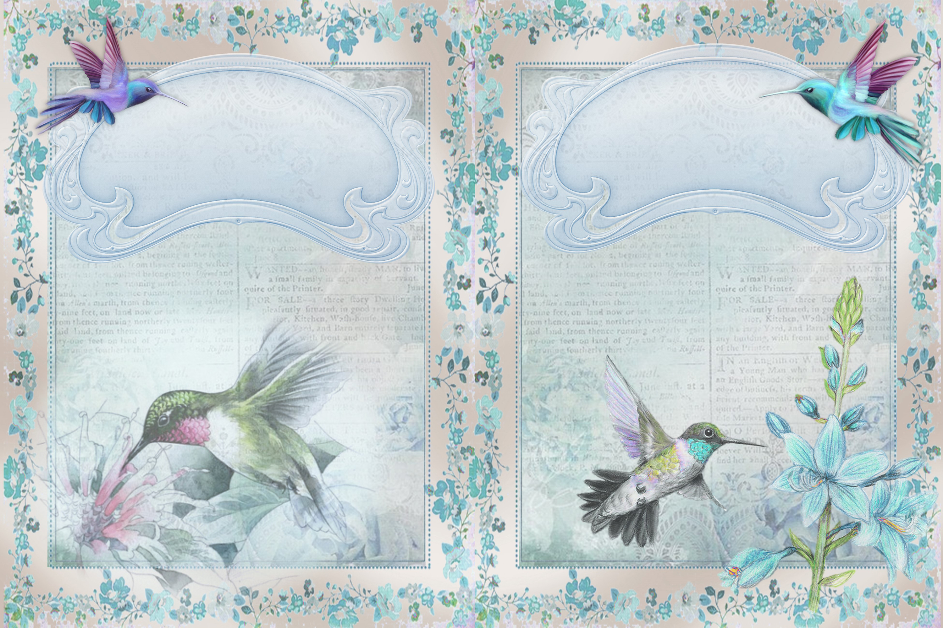 Hummingbird Journaling Kit Backgrounds Commercial Use example image 3