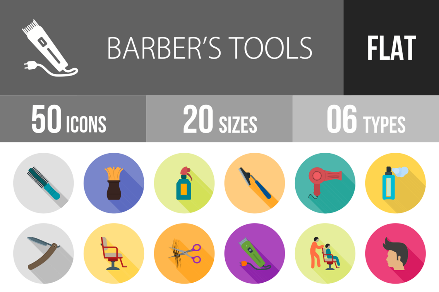 50 Barbers Tools Flat Long Shadow Icons example image 1