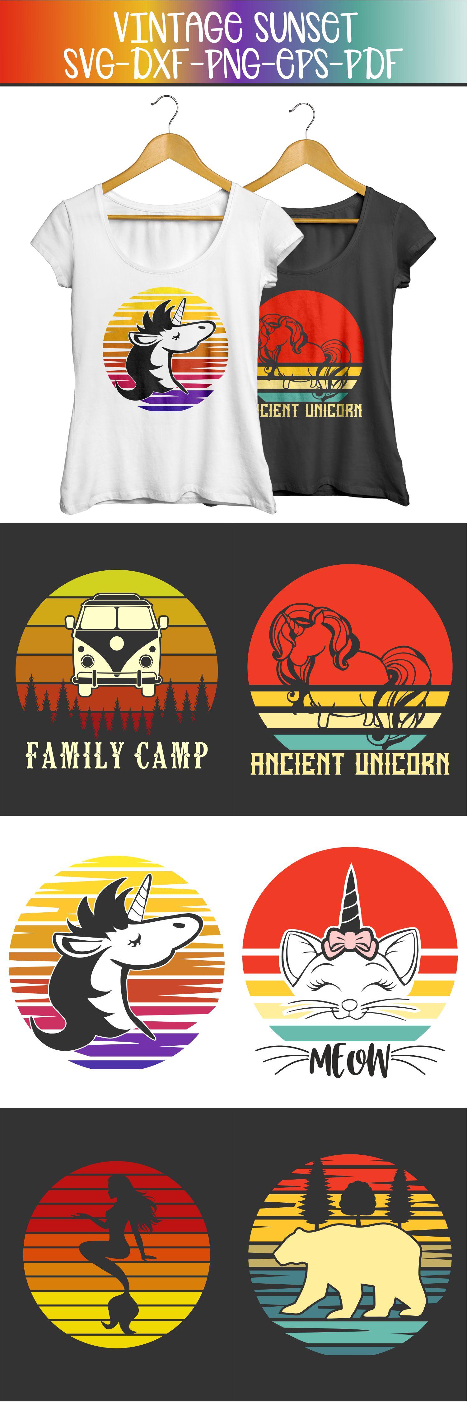 vintage sunset retro t-shirt designs, unicorn cat bear svg example image 4
