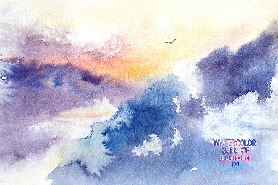 Watercolor sunrise example image 1