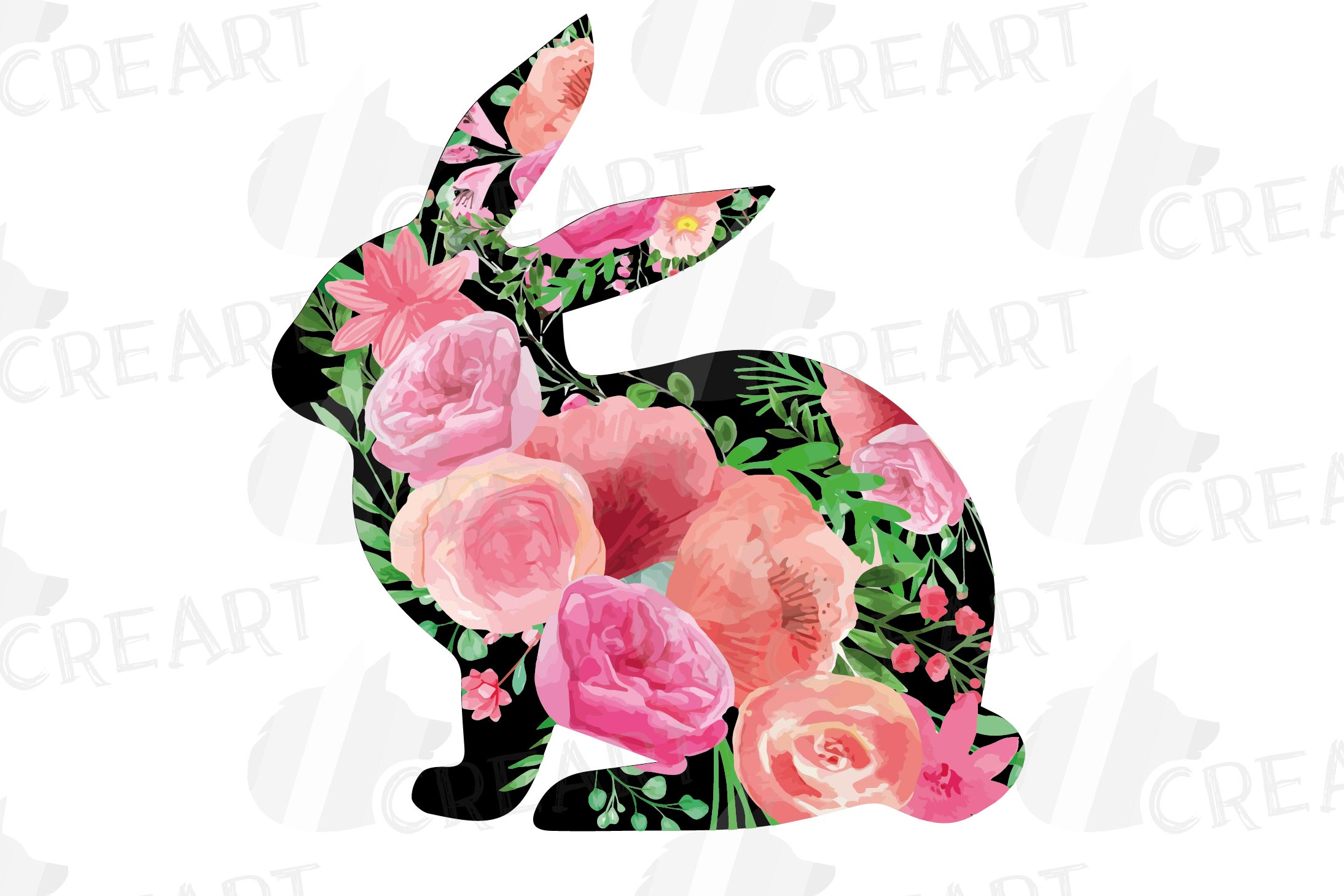Floral rabbit family, sister, brother,papa and mama bunny example image 3