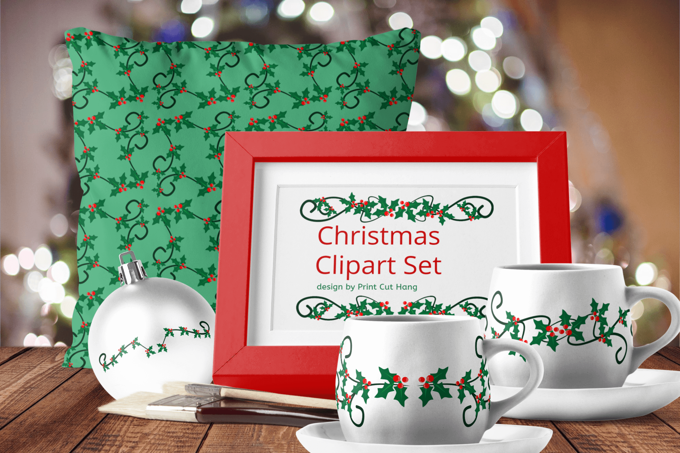 Christmas Holly Berries Divides Clipart Set Download example image 2