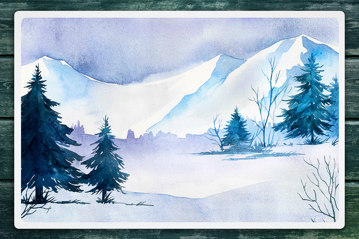 Winter Landscapes set#2. Watercolor. example image 8