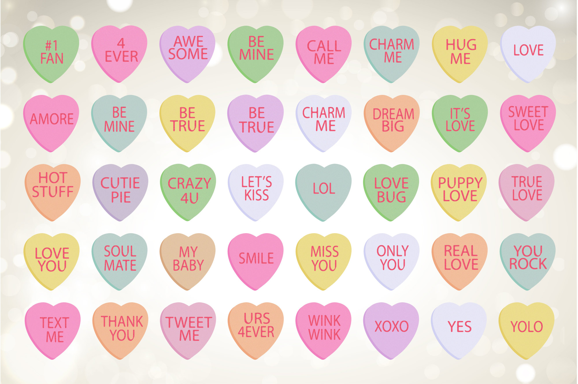 Conversation Hearts, Valentine Clipart example image 2