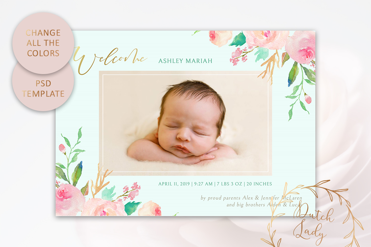 PSD Birth Announcement Card Template - Design #3 example image 3