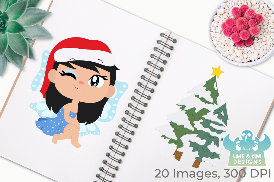 Christmas Fairies 3 Clipart, Instant Download Vector Art example image 3