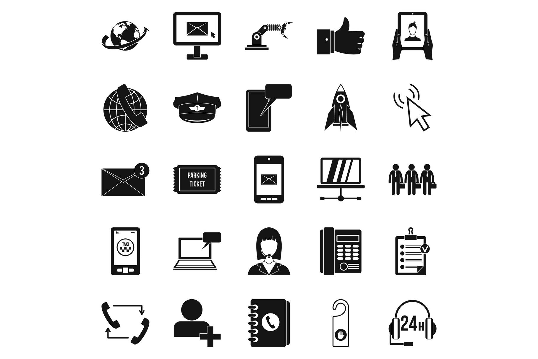 Call on business icons set, simple style example image 1