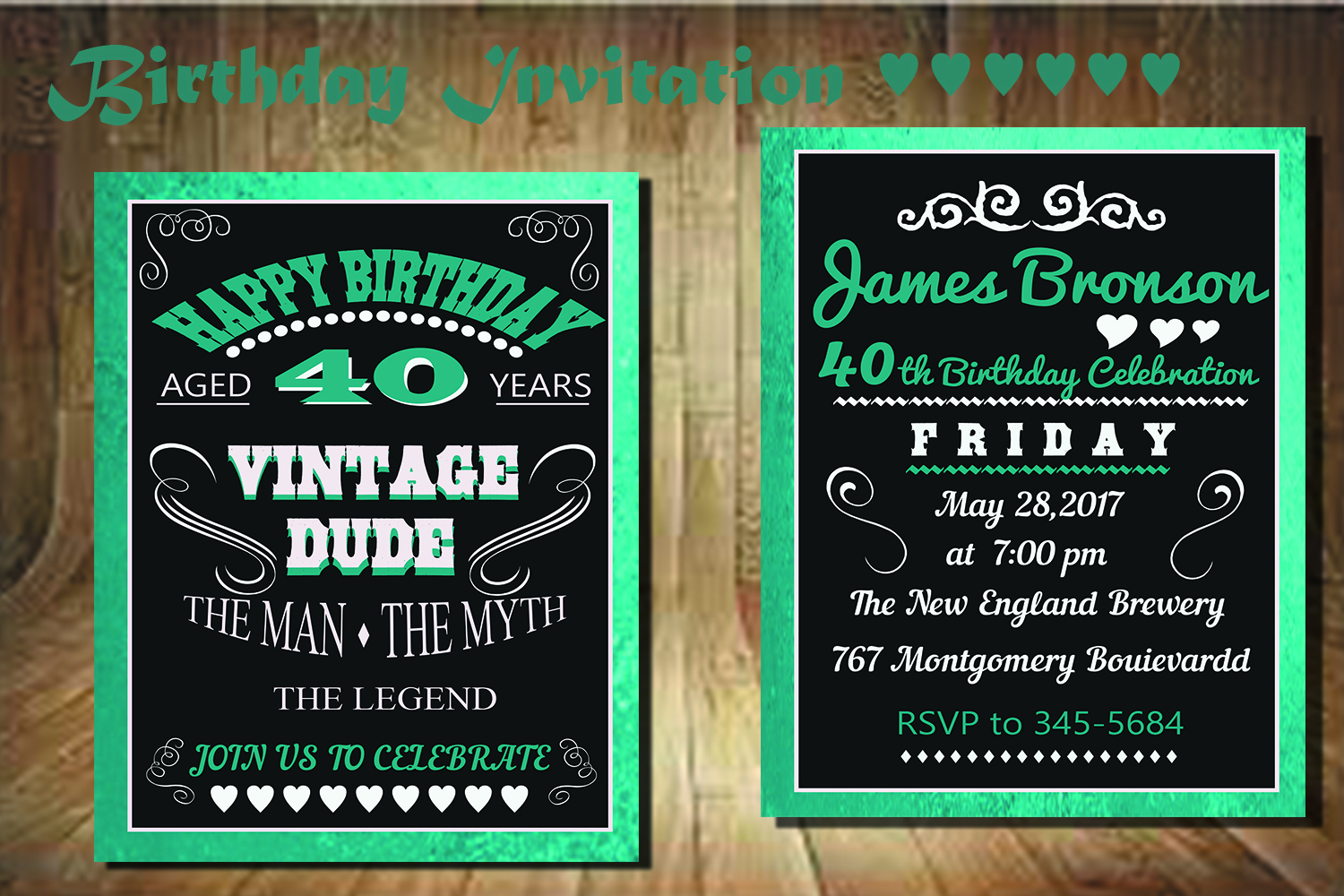 Birthday Invitation Card front back example image 1