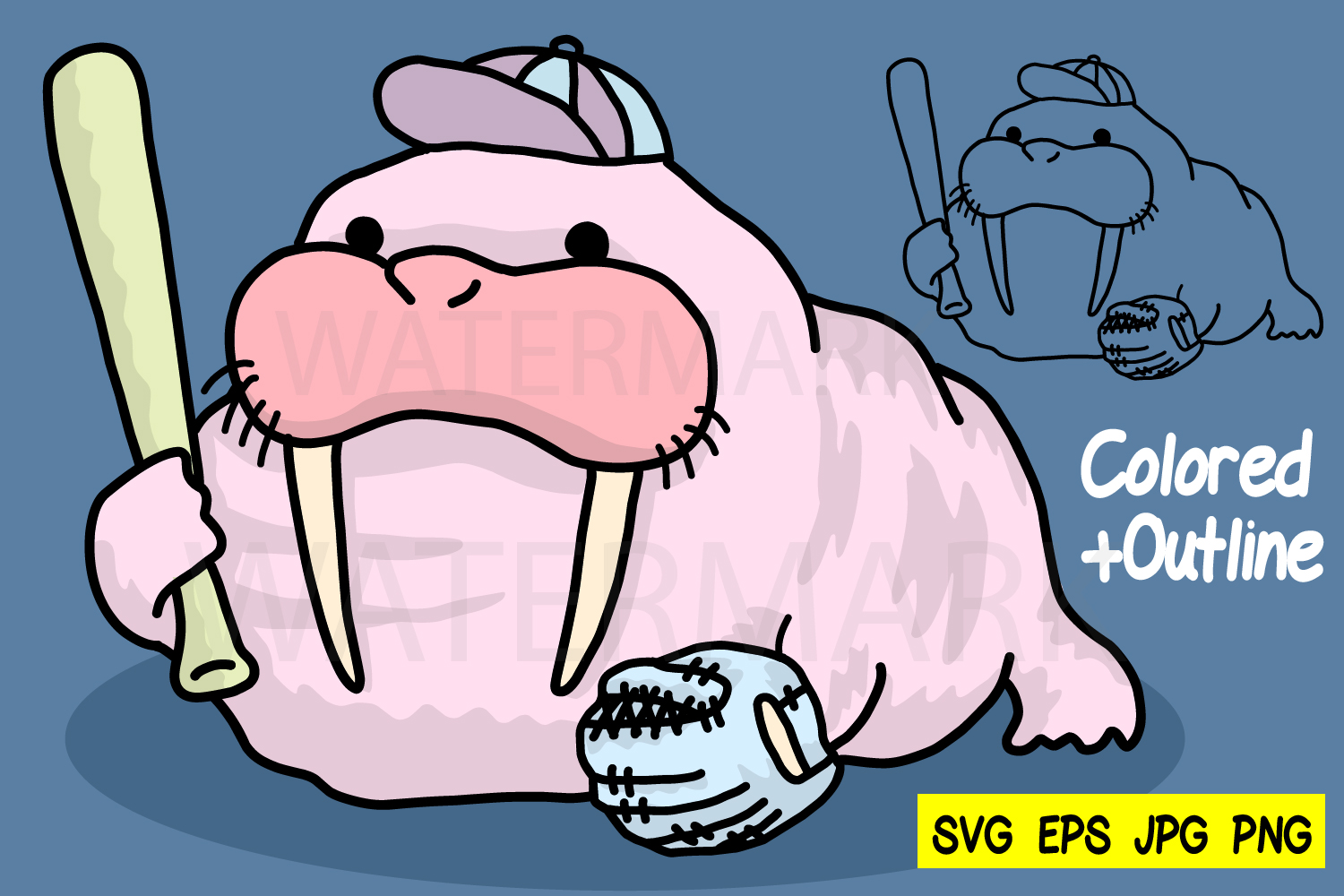 Walrus baseball- Outline and Colored - SVG-EPS-JPG-PNG example image 1