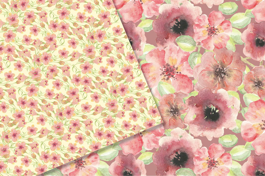 Watercolor patterns in coral flowers example image 3