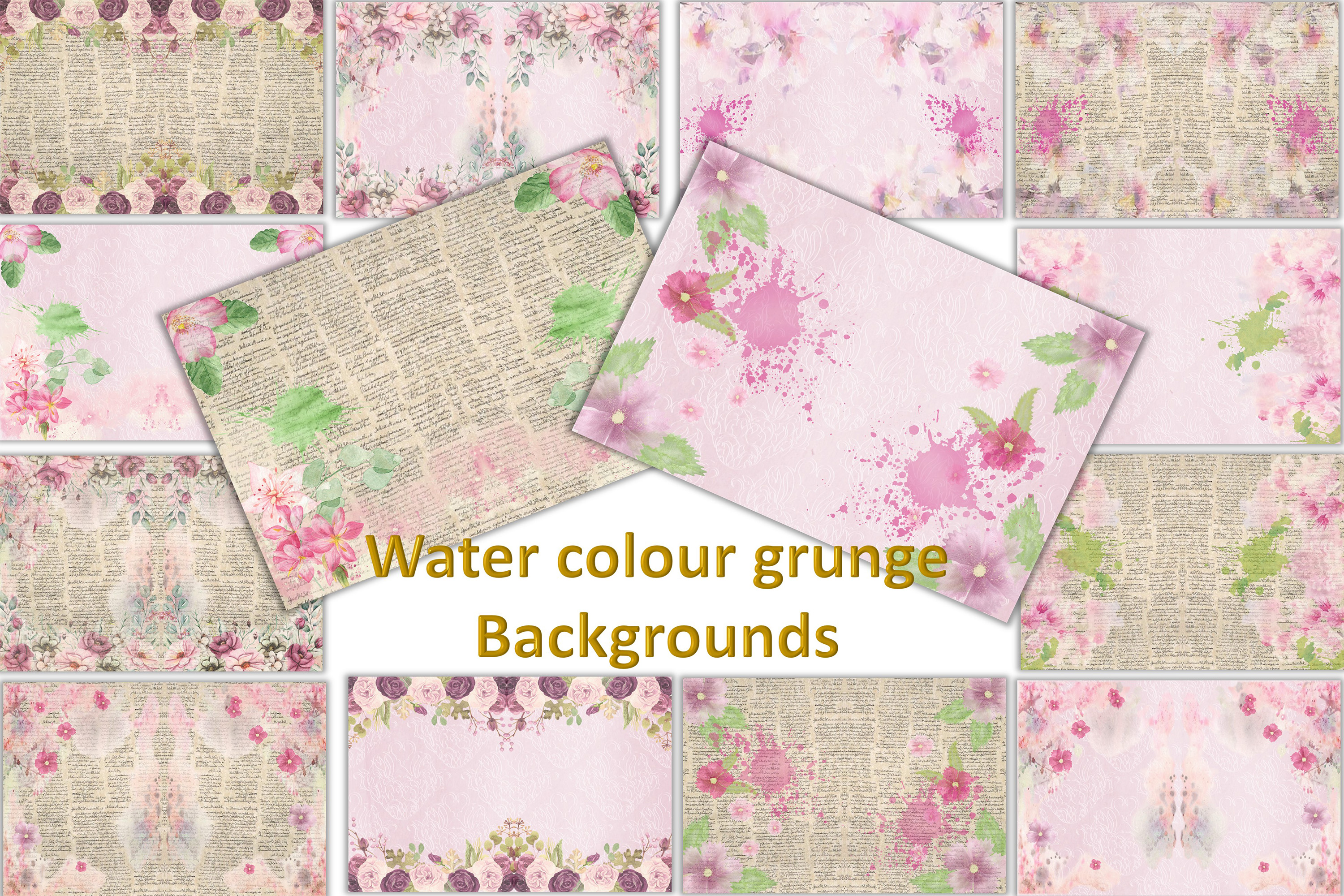 Watercolour Florals Journal Backgrounds 28 pages example image 1