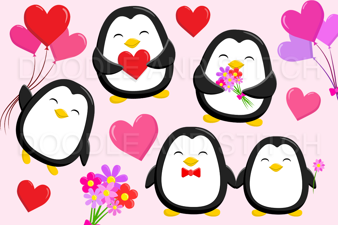 Valentines Penguin Clipart Illustrations example image 1