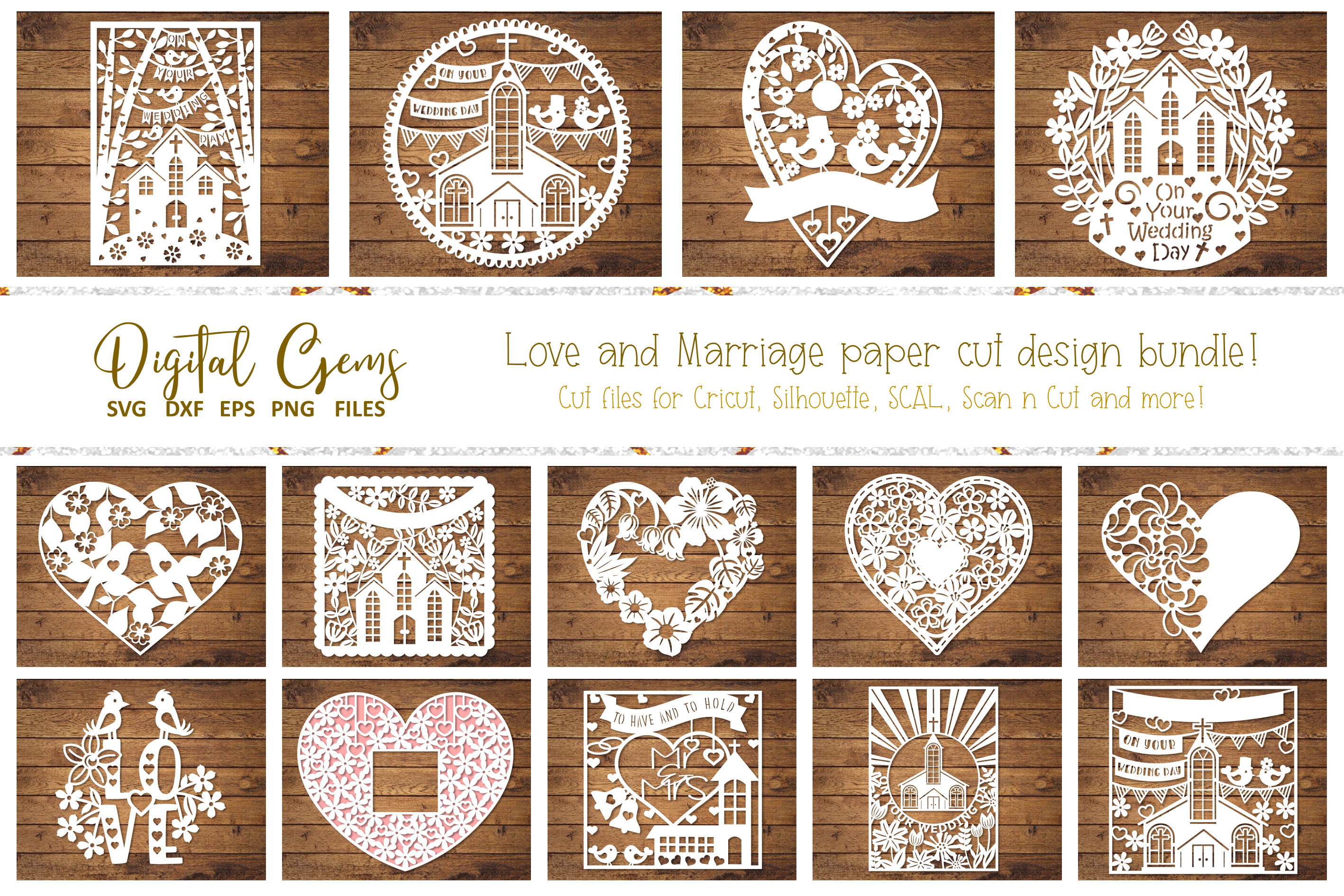 Love and Marriage paper cut Bundle. SVG / DXF / EPS / PNG example image 1