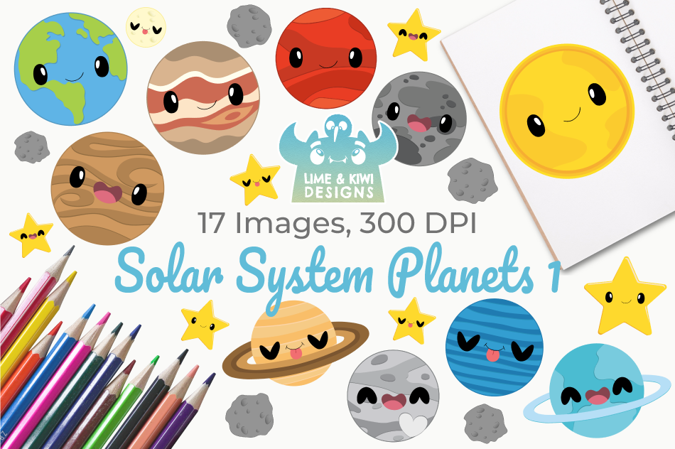Solar System Planets 1 Clipart, Instant Download Vector Art example image 1