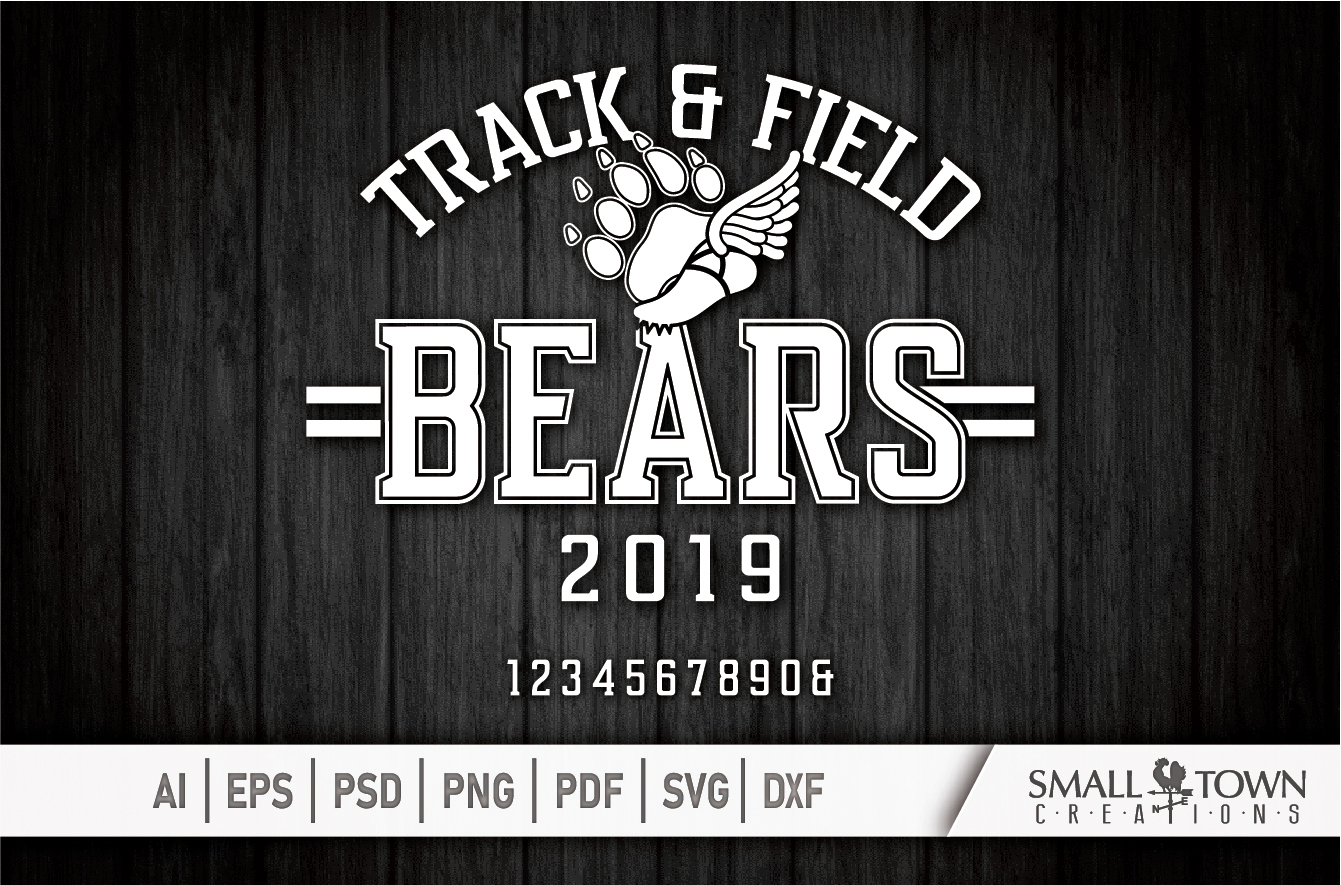 Bears Track and Field, Bear mascot, logo, PRINT, CUT, DESIGN example image 5