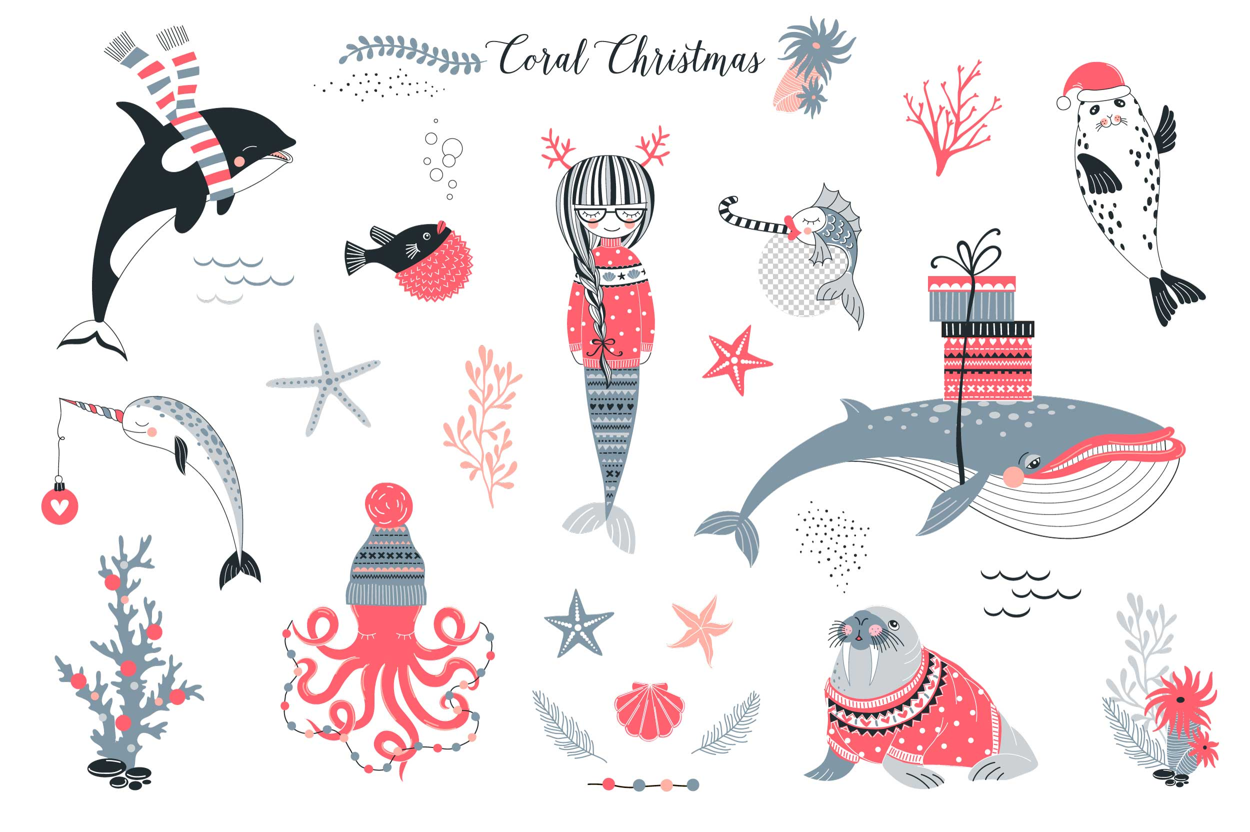 Underwater Christmas concept clip-art set example image 2