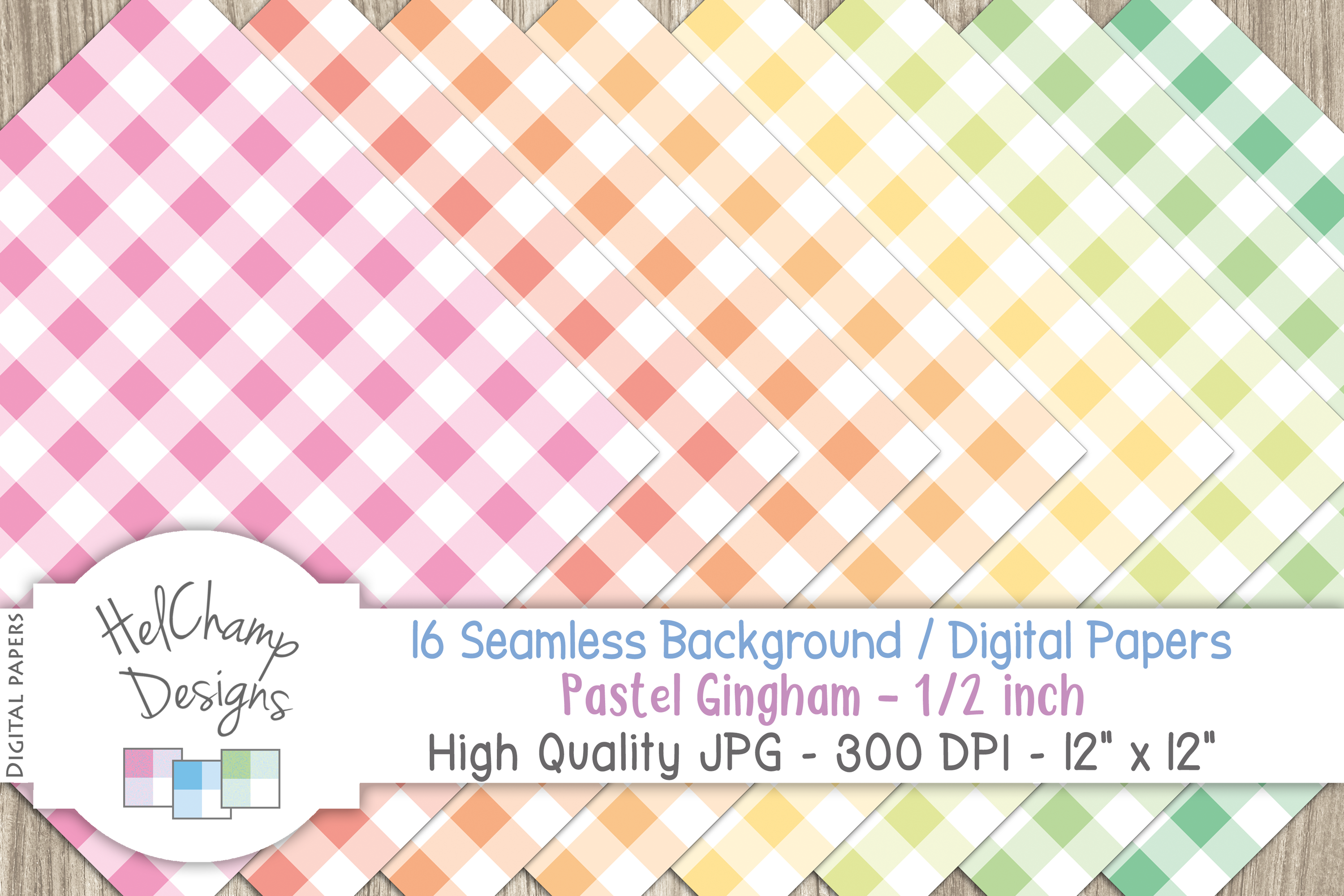 16 seamless Digital Papers - Pastel Gingham 1/2 inch - HC004 example image 3