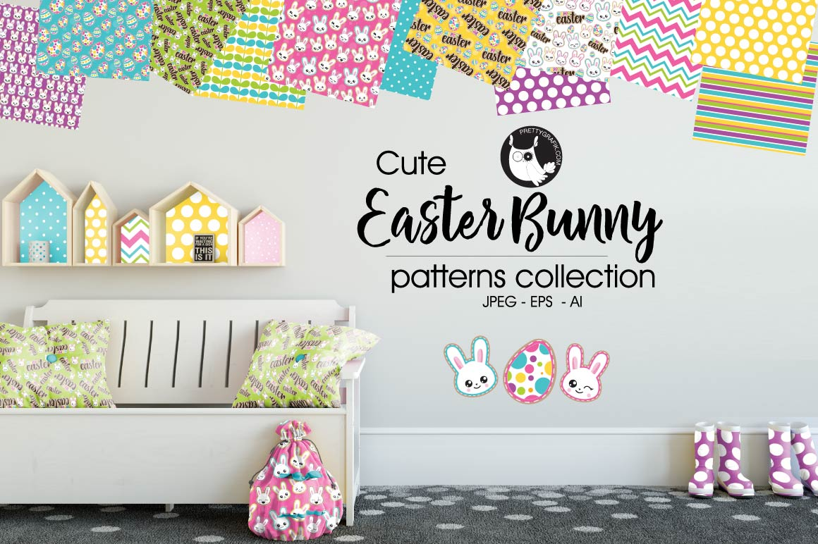 EASTER-BUNNY , digital papers example image 1
