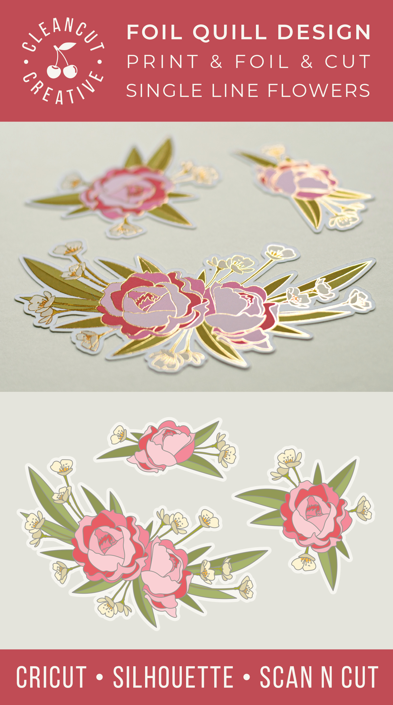 Foil Quill Flowers | Print & Foil single line sketch design example image 5