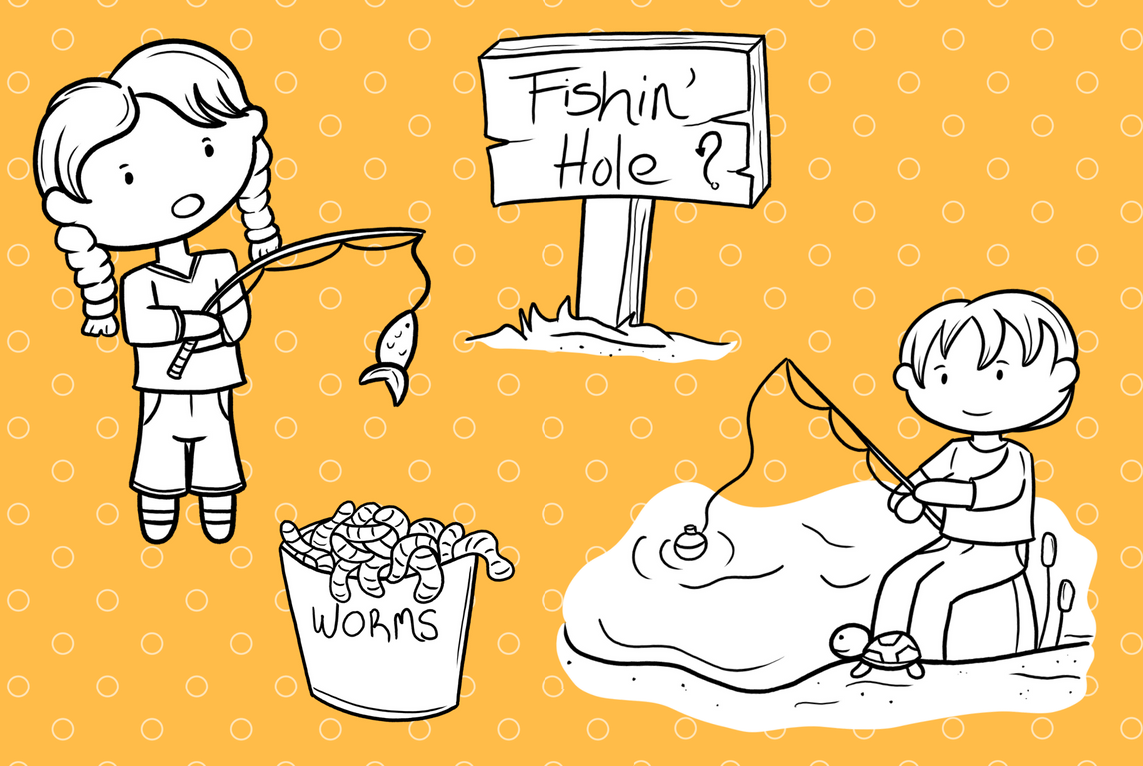 Kids Fishing Digital Stamps example image 3