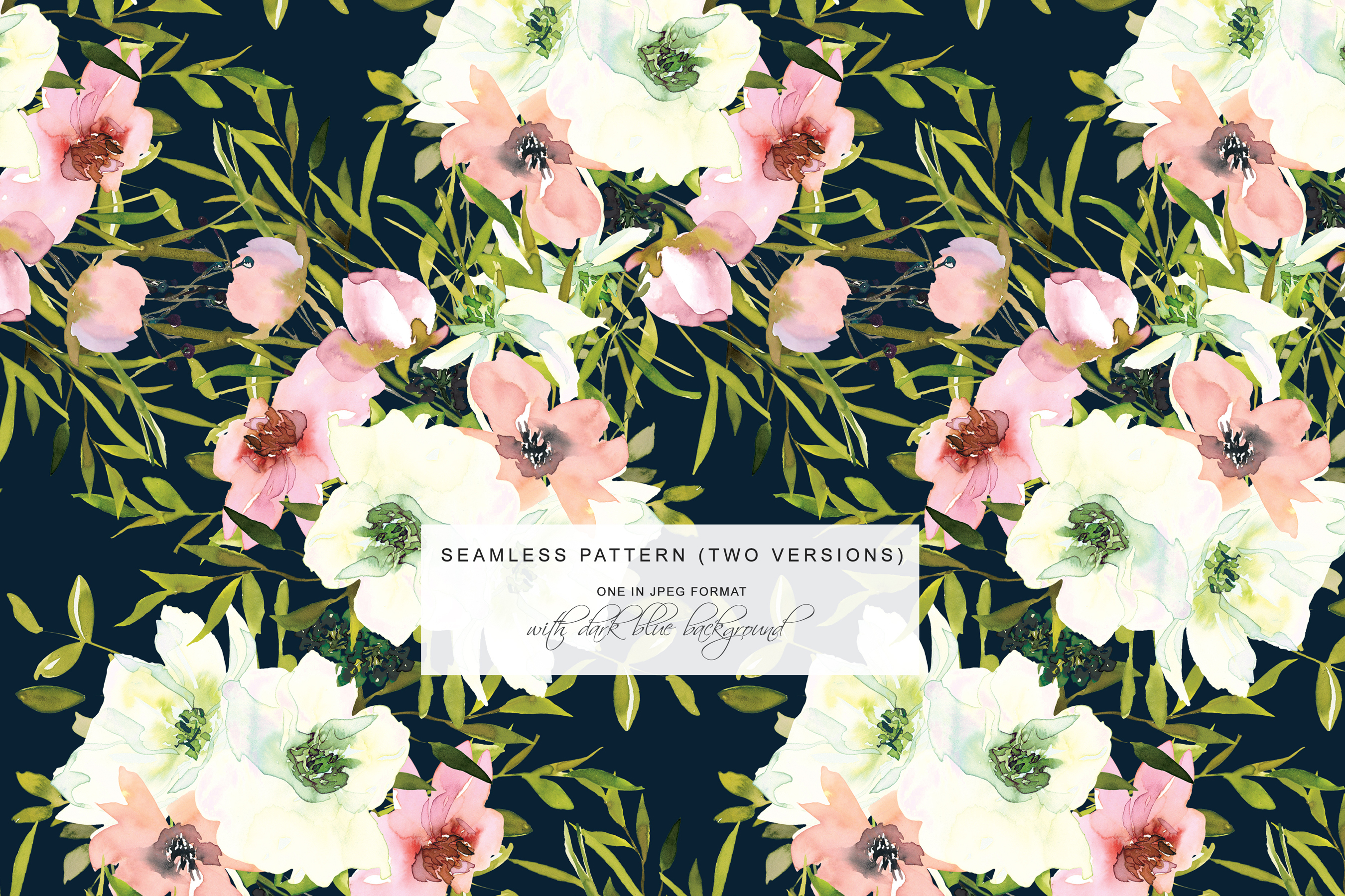 Watercolor Blush and White Florals Clipart Seamless Pattern example image 6