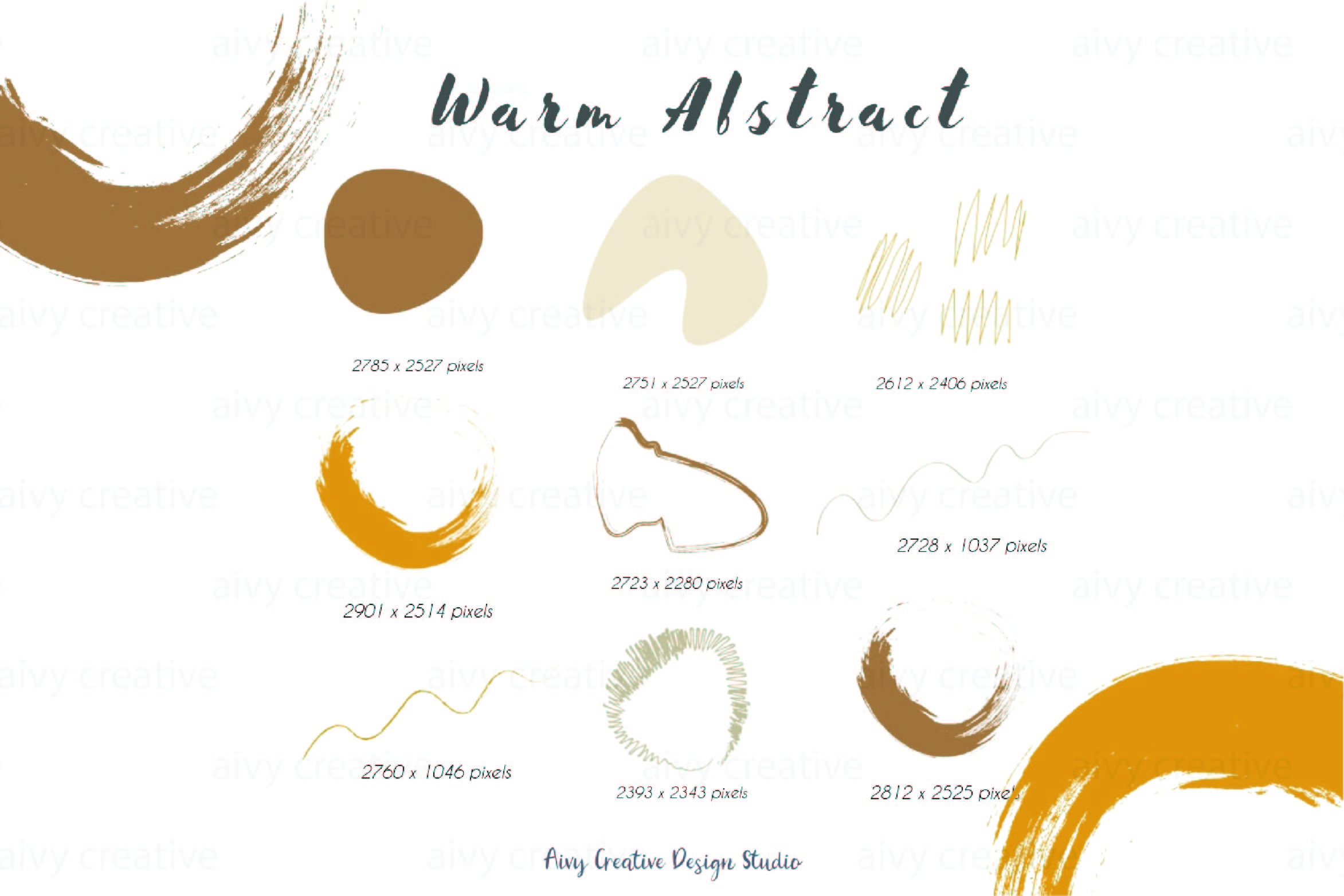 Vector Warm Abstract Colors Abstract Clip Illustration Set example image 4