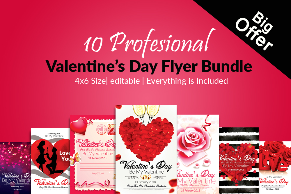 10 Valentines Day Flyer Template Bundle