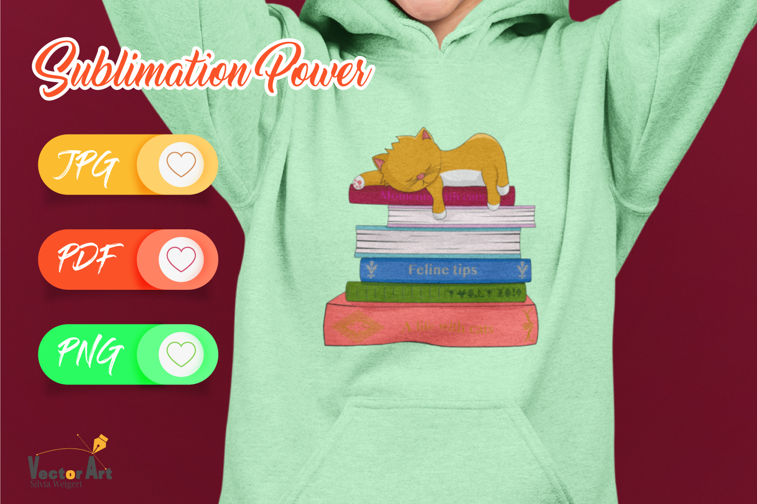 Cat sleeping on books - Sublimation Files for Crafters example image 2