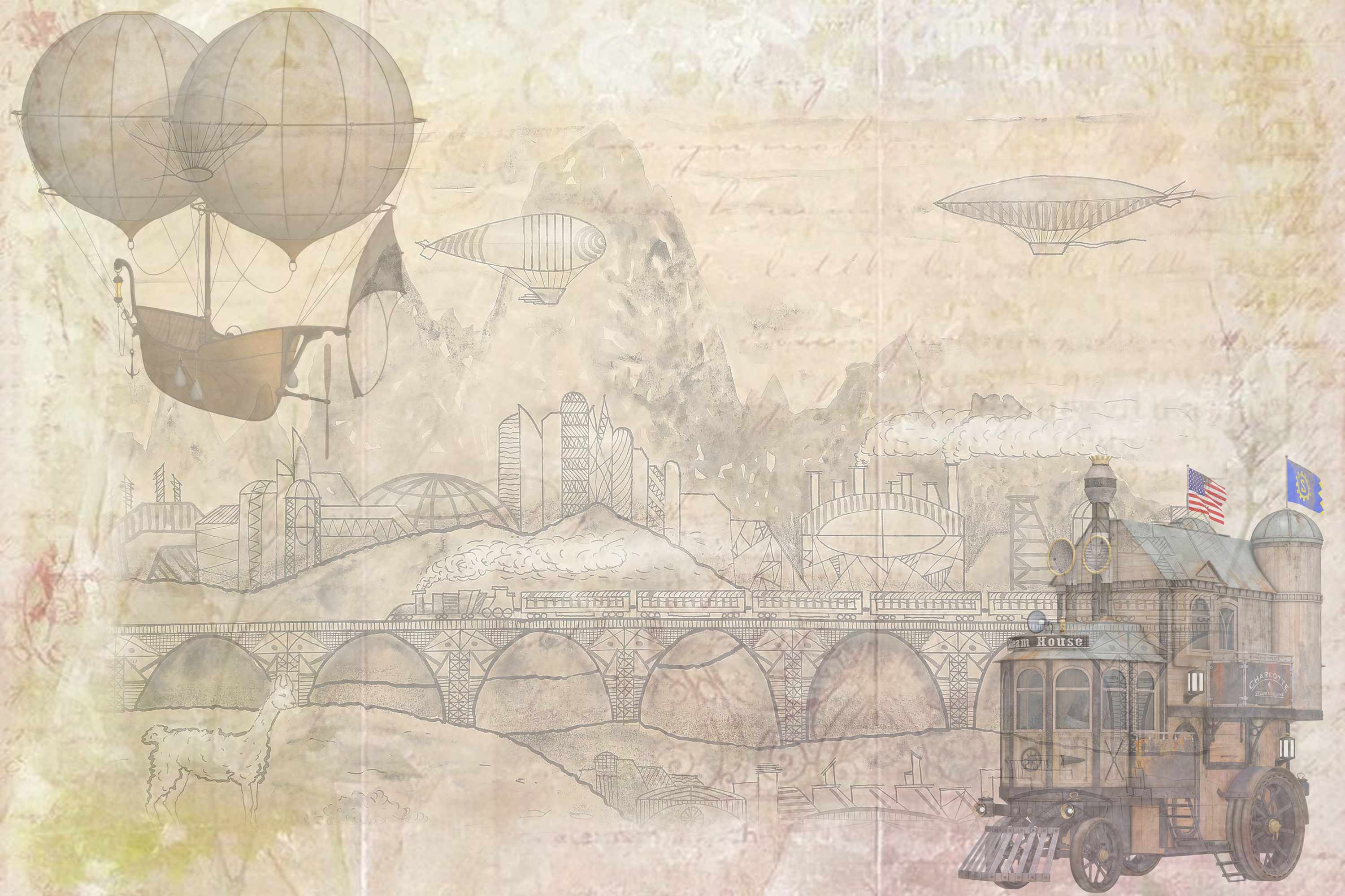 SteamPunk Collage Sheets 8.5 x 11 inches. JPEG and PDF example image 6