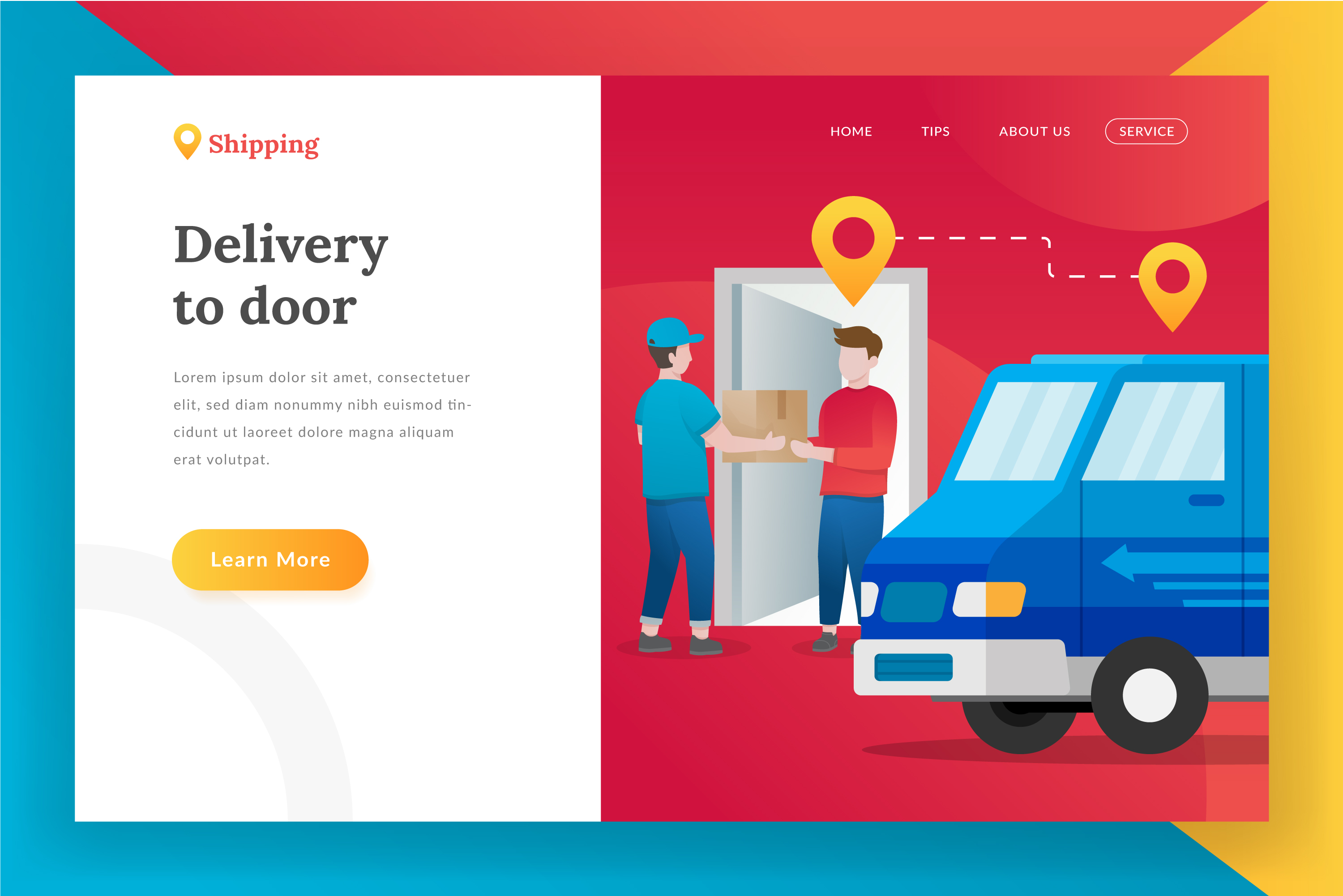 Delivery package landing page illustration example image 1