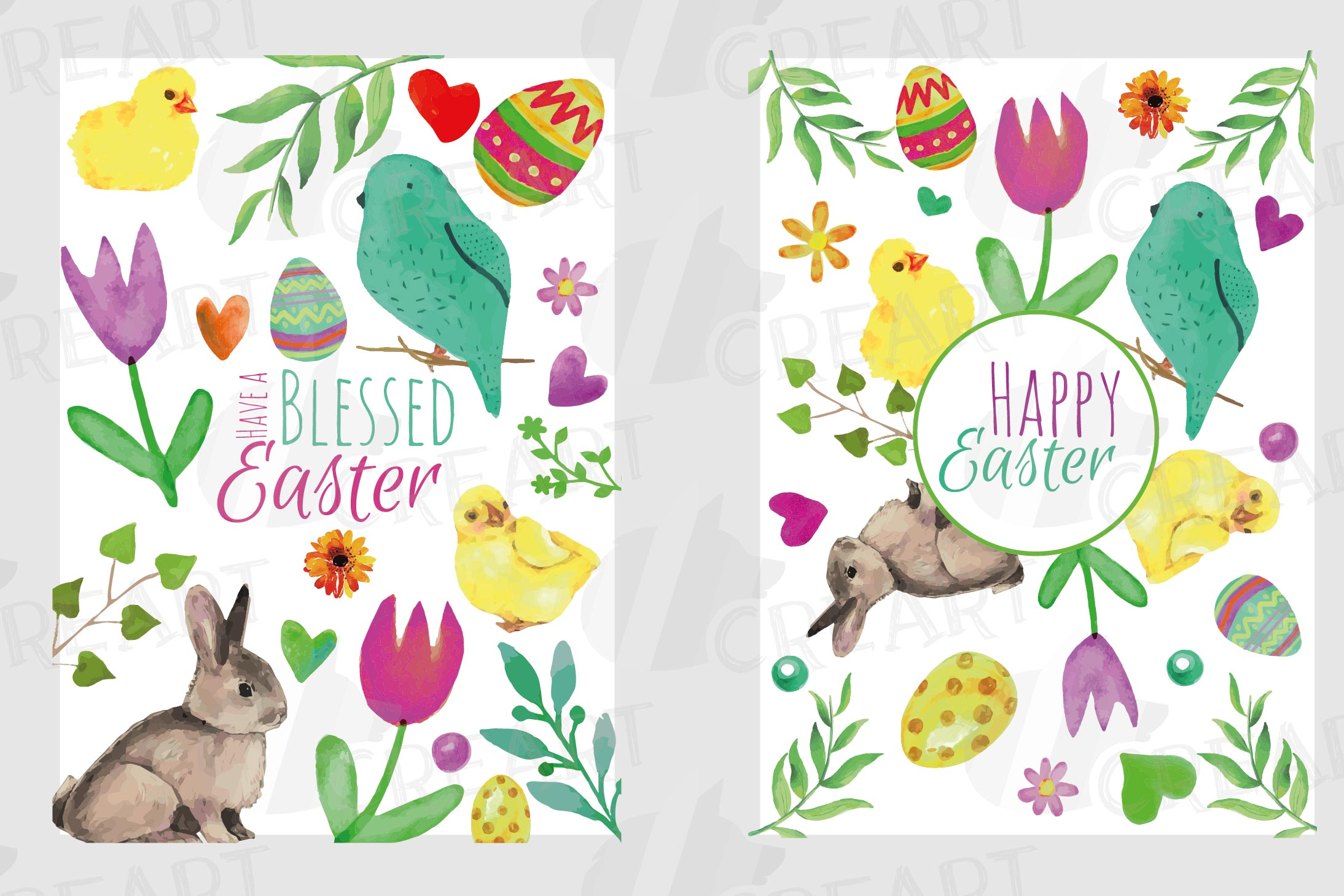 Easter greeting cards, 6 Happy Easter cards, colorful cards example image 5