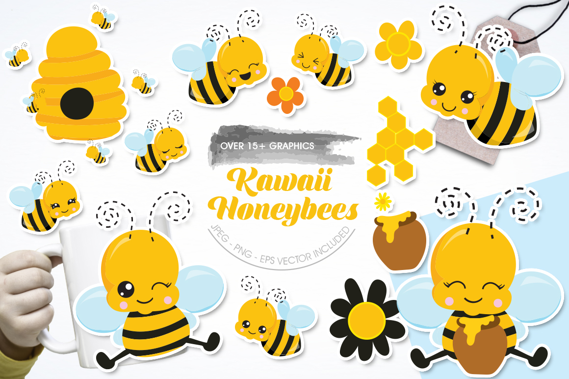 Kawaii Honeybees graphic and illustrations example image 1