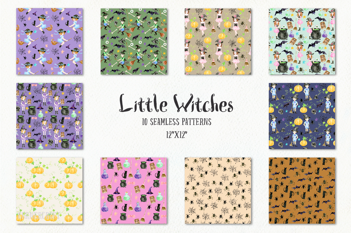 Little Witches Watercolor Design Kit example image 15