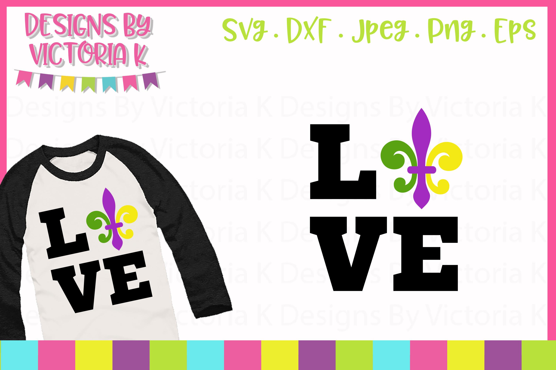 Love Mardi Gras, Fleur de lis, SVG, DXF, PNG example image 1