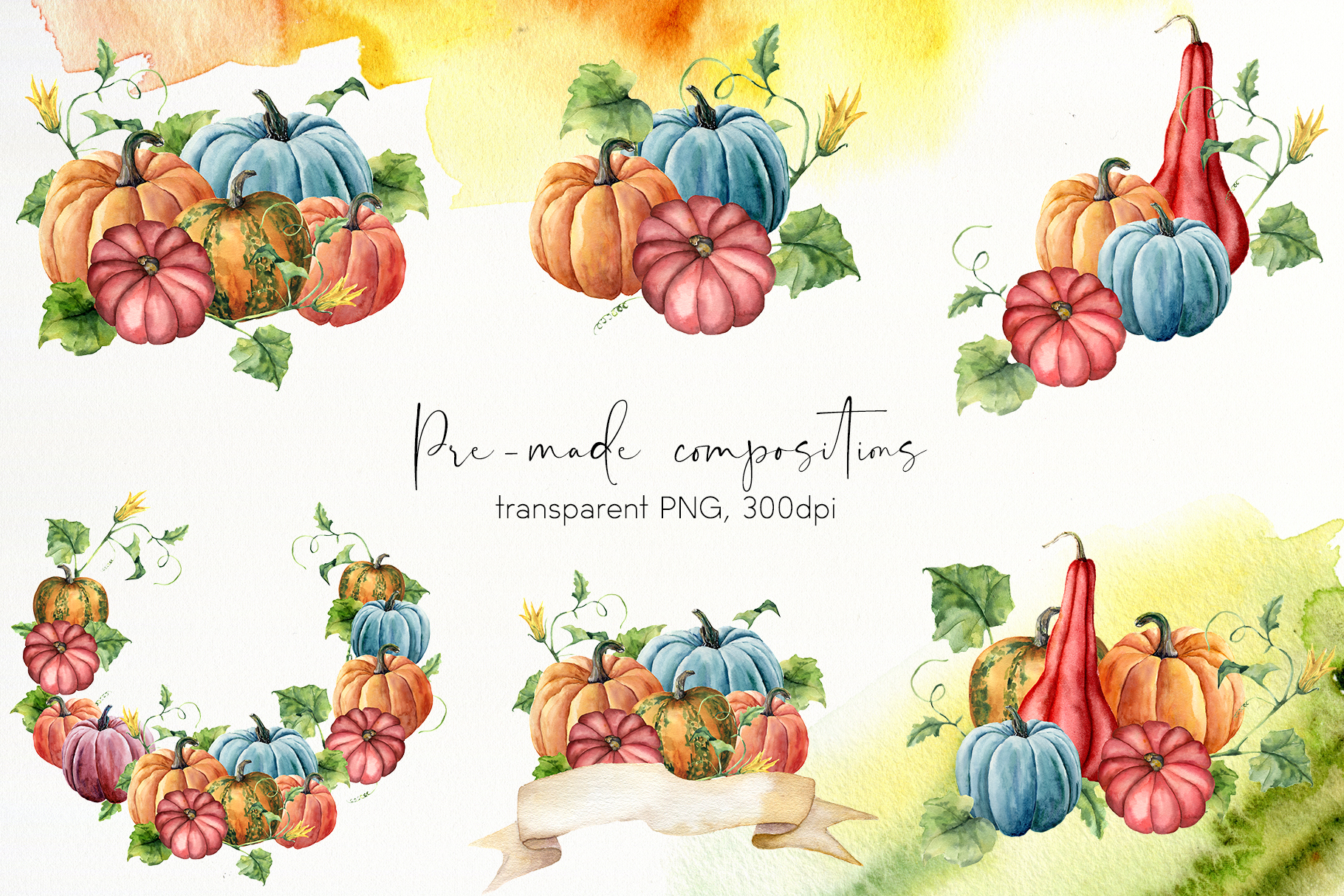 Pumpkins. Watercolor collection example image 5