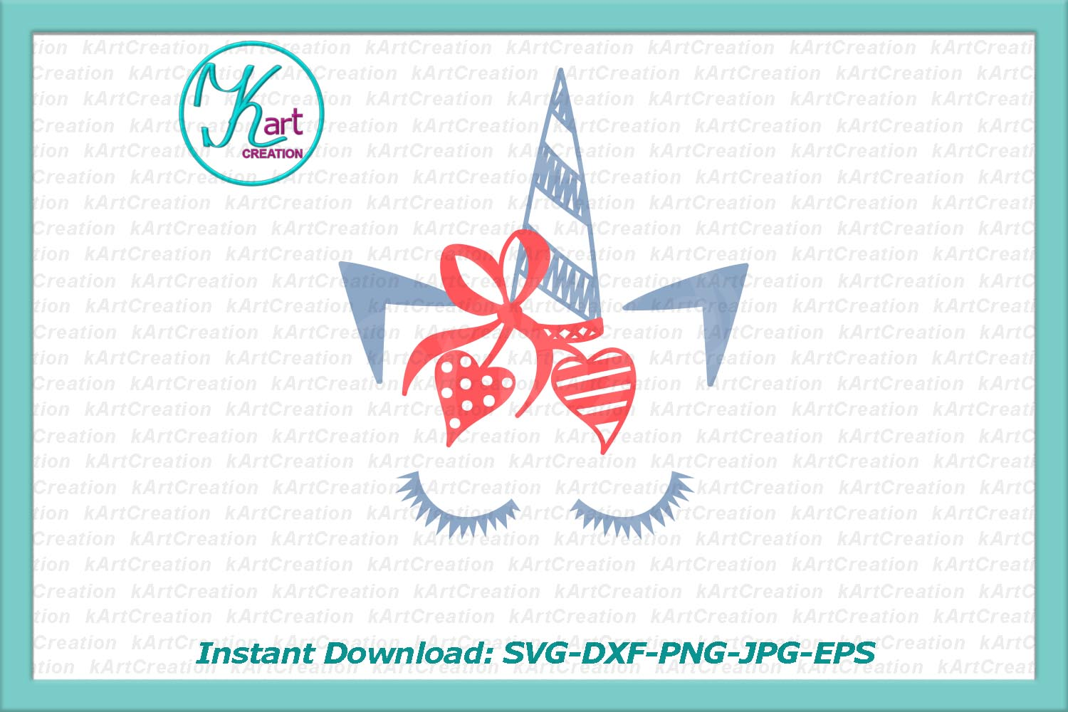 Valentines Day Valentine Unicorn Face With Hearts Svg Dxf