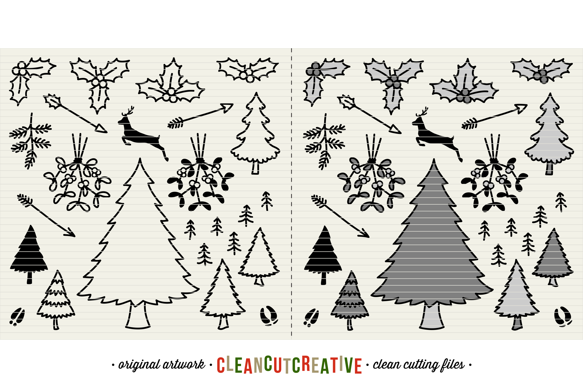 The Crafters Christmas Toolkit - 150+ Christmas Design Elements - SVG DXF EPS - Cricut & Silhouette - clean cutting files example image 8