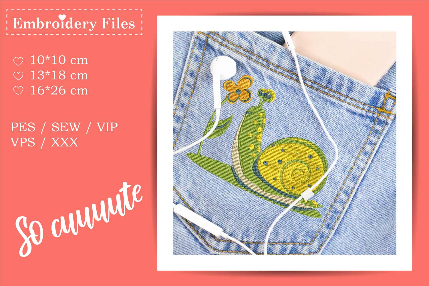 A cute Snail - Embroidery File for Beginners example image 2