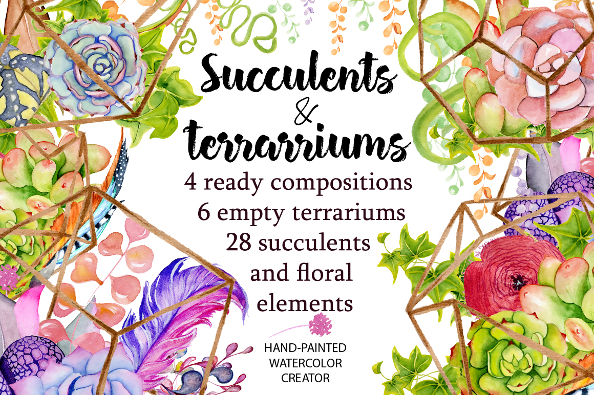 Spring Sale succulents & cactuses watercolor bundle 75% OFF! example image 5