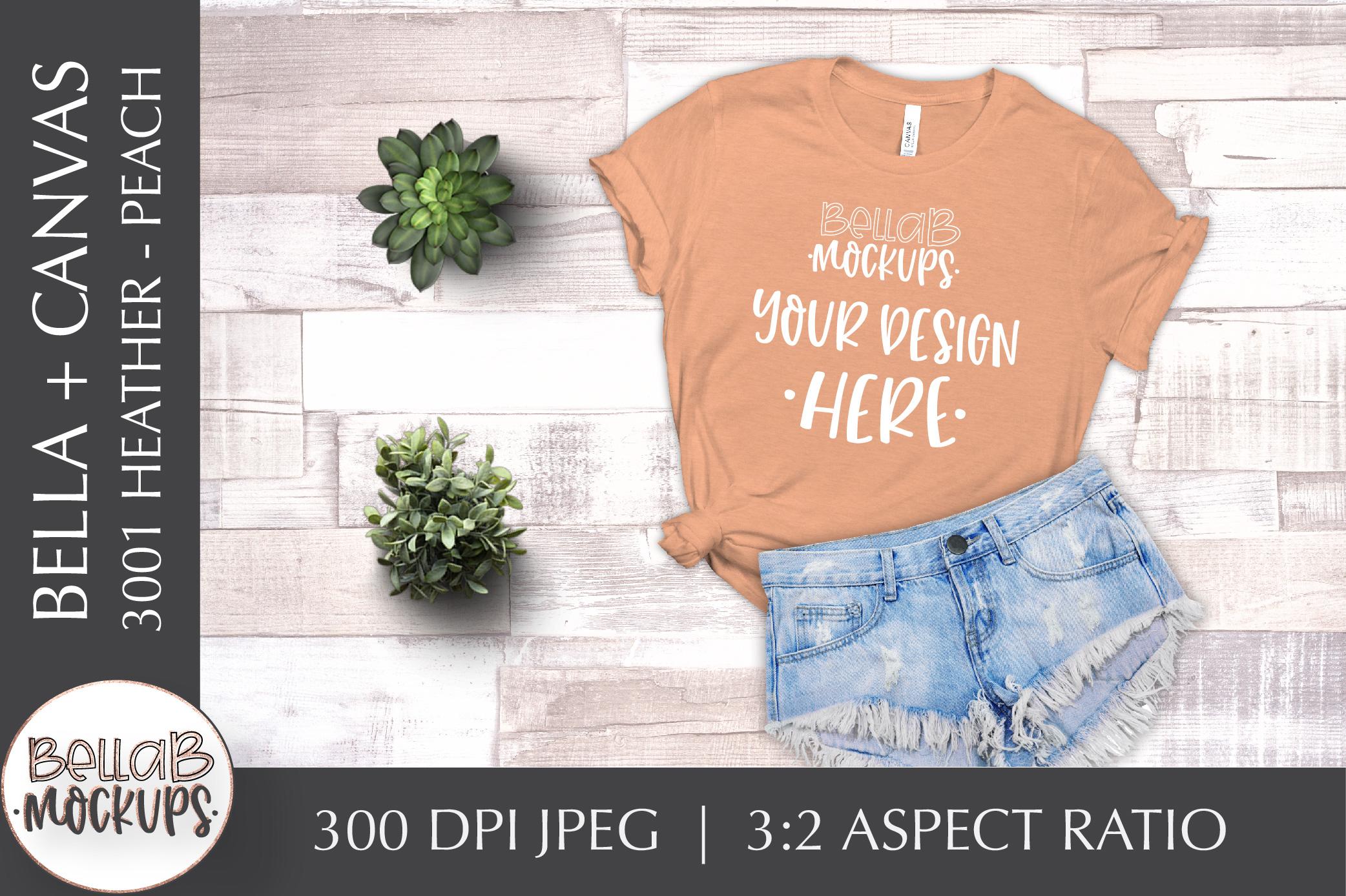 Bella Canvas T Shirt Mockup Bundle, Heather 3001, Summer example image 6