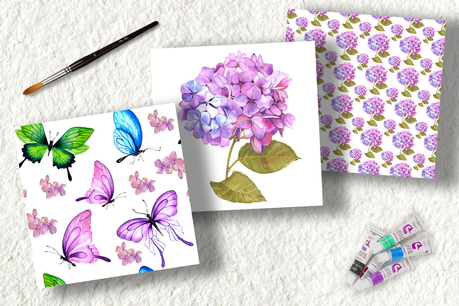 Watercolor clipart of hydrangea, butterflies and teddy toys example image 7