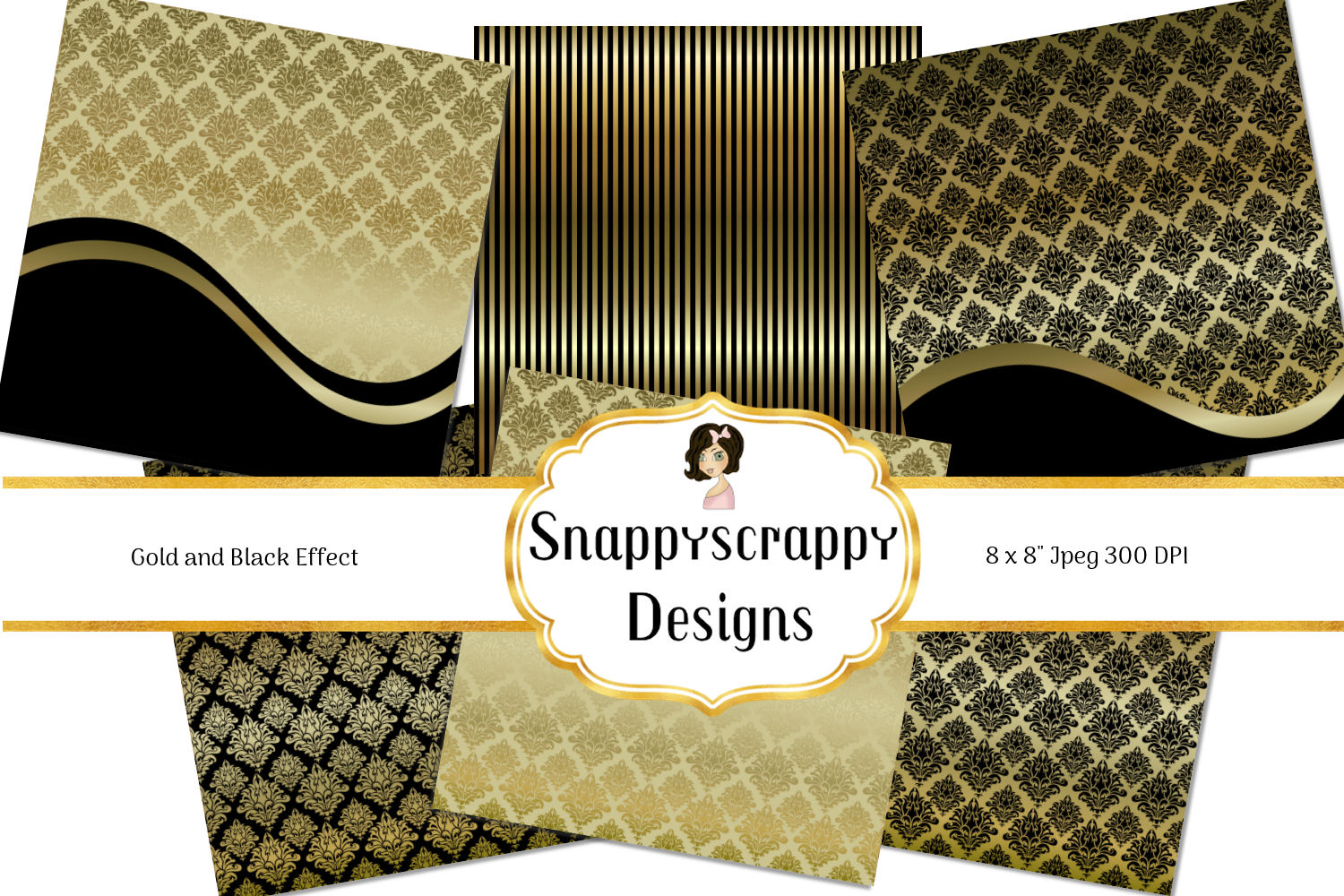 Black and Gold Decorative Background Paper Pack example image 3