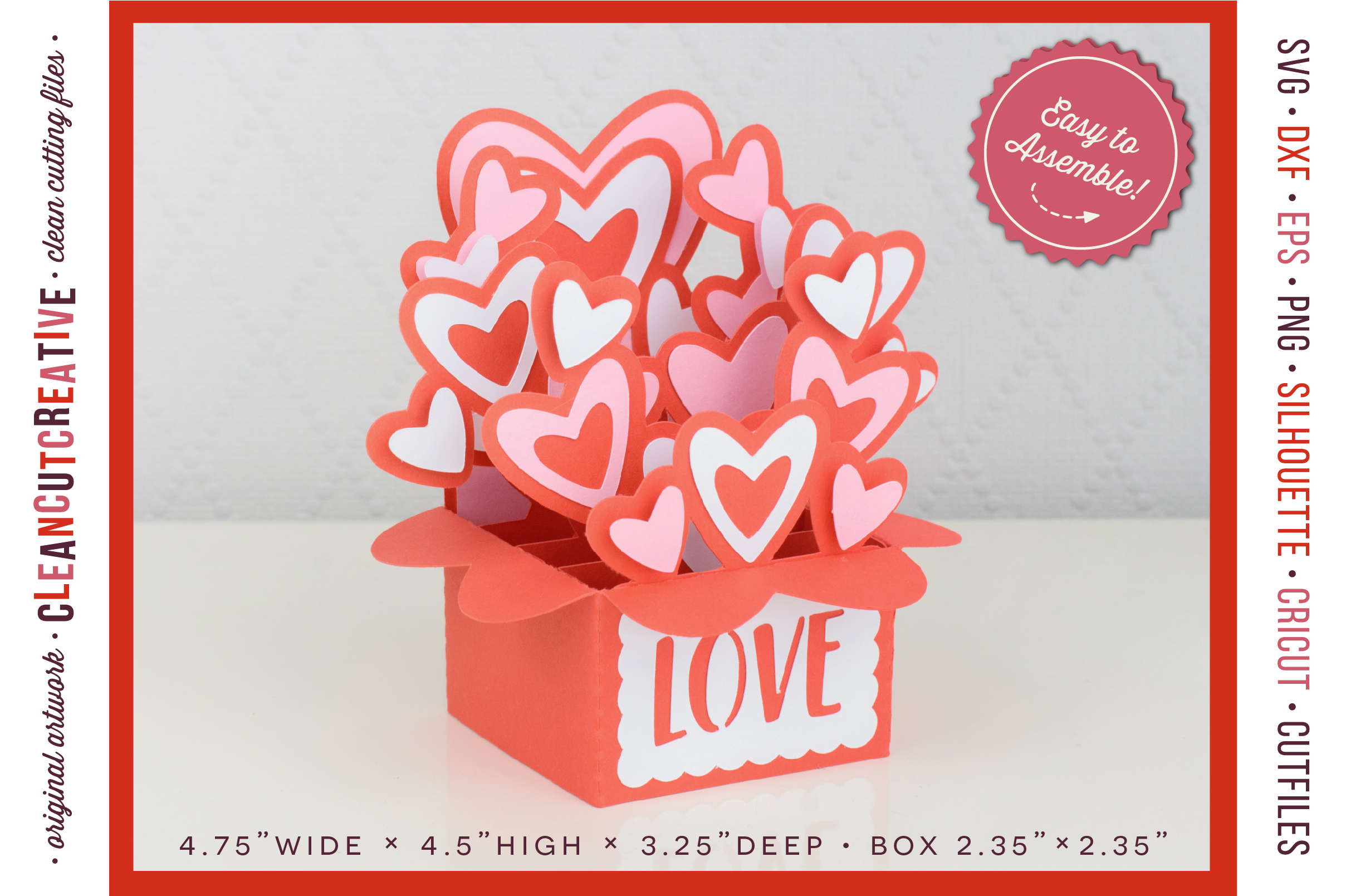 Love Box Card Valentine Card in a Box with cute hearts - SVG DXF EPS PNG - for Cricut & Silhouette - clean cutting files example image 2
