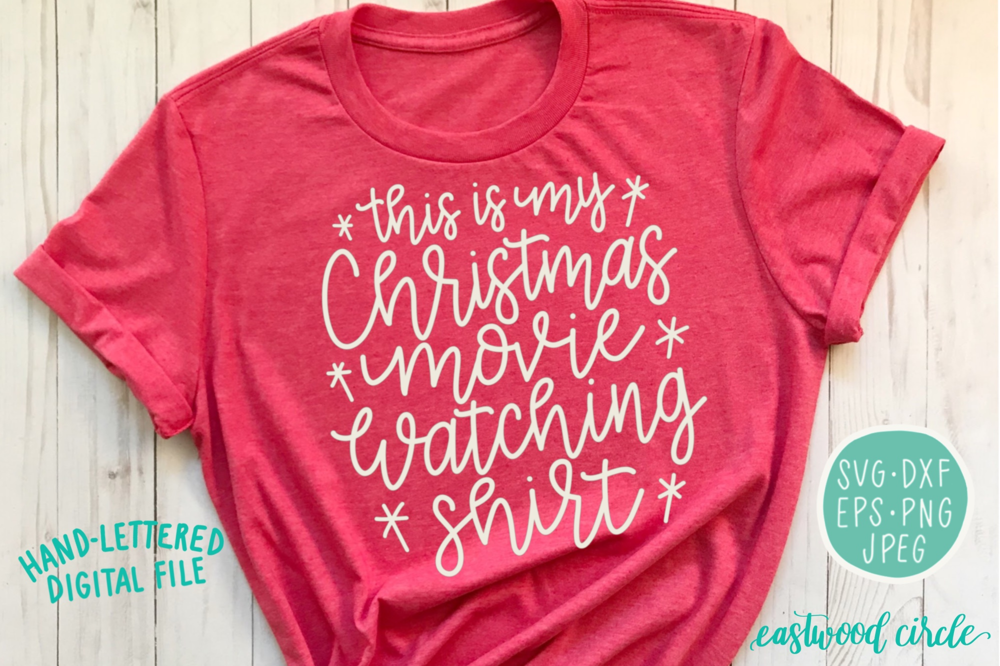 This Is My Christmas Movie Watching Shirt - SVG Cut File example image 1