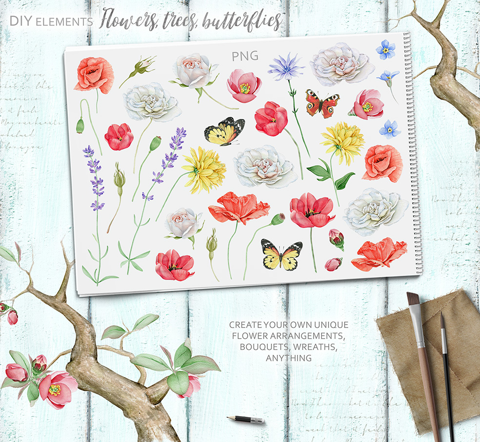 15%OFF. Watercolor Floral Collection example image 22