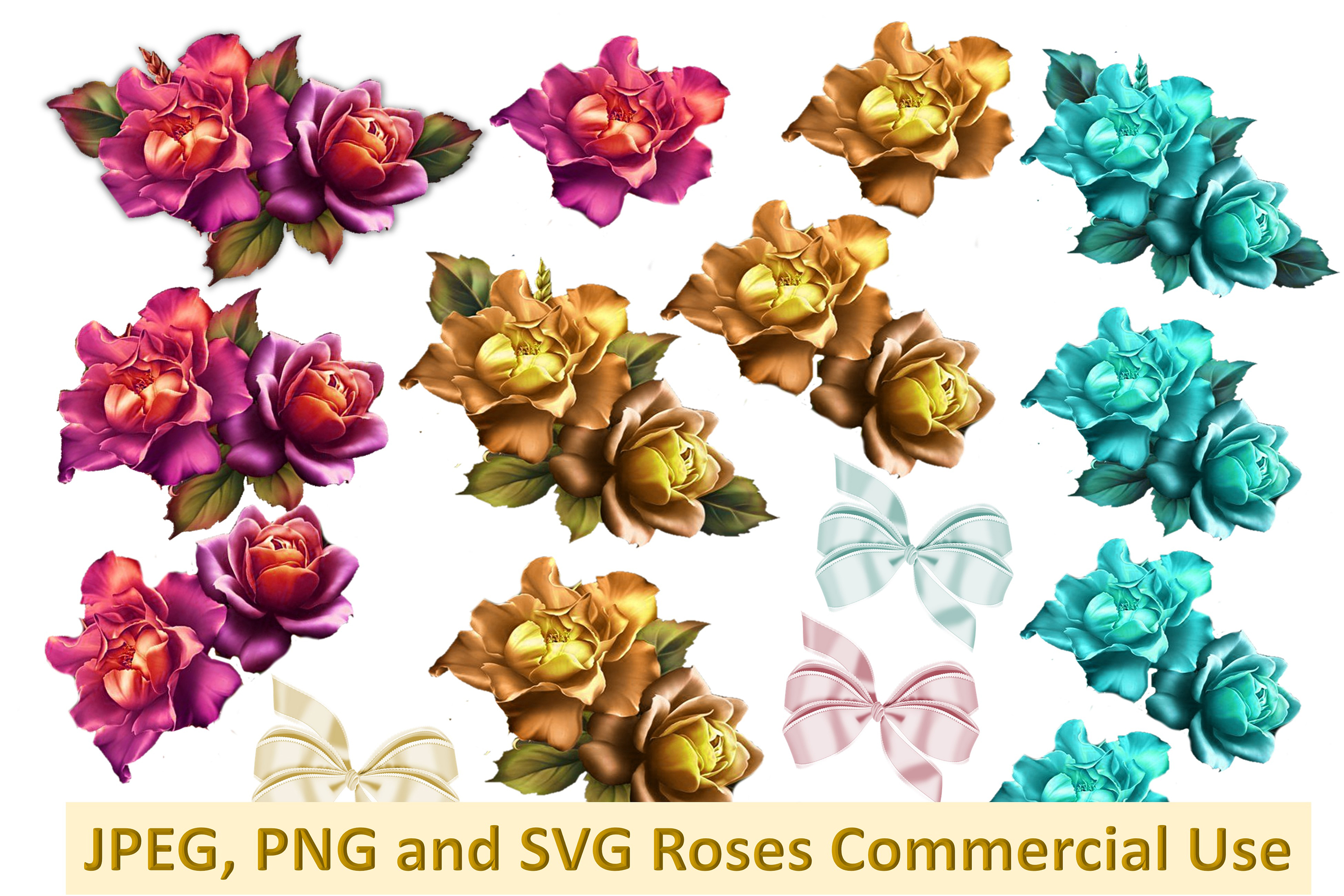 SVG, PNG and JPEG Shabby Chic Roses Commercial Use example image 1
