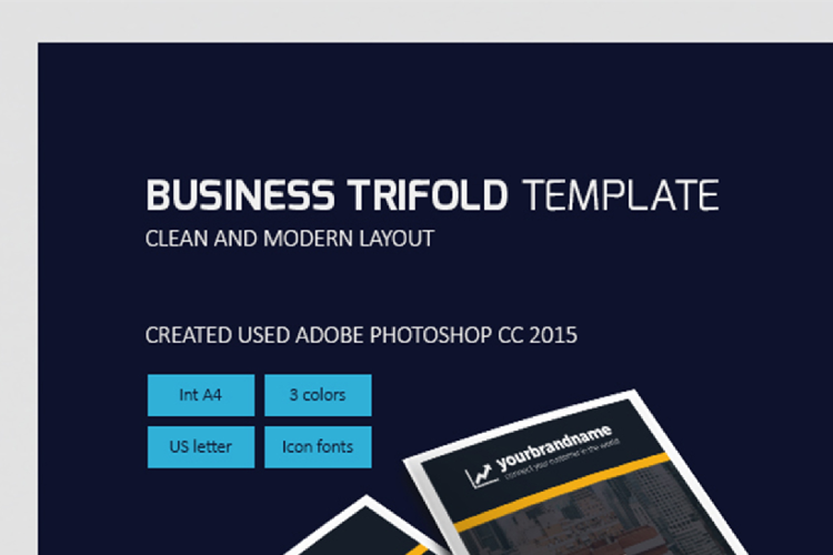 Modern Business Trifold Brochure Photoshop Template example image 1
